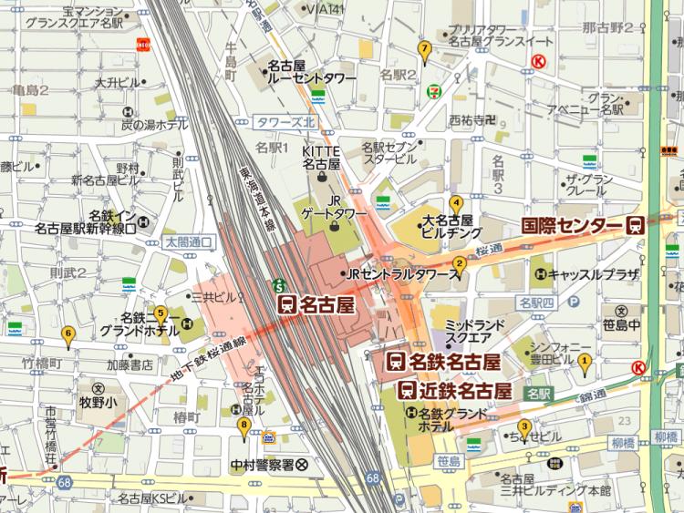 名古屋駅周辺のメンズ脱毛マップ